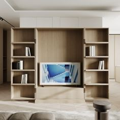 living room Arts And Crafts House, Minimalism, Bookcase, New Homes, Shelves, Contemporary, Dining, Living Room, Bedroom