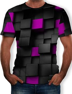 Men's T-shirt - Color Block / 3D / Graphic Print Round Neck Black XXXXL Textiles, Plus Size Shorts, Printed Shorts, Casual Tops, Graphic Prints, Mens Tees, Streetwear Fashion, Colorful Shirts, Street Wear