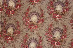 Antique French quilted bed curtain c1840 bedding textile printed cotton Mulhouse www.textiletrunk.com