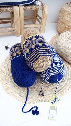SET of 3 Pillow Crochet Marrakech Navy blue and Beige