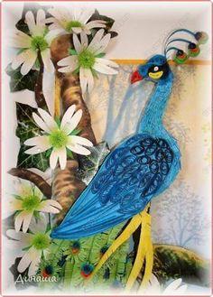 Картина панно рисунок Бумагопластика Вырезание Квиллинг Картина Райская птичка Бумага Клей фото 2