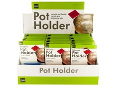 """Silicone Pot Holder Countertop Display, 24 - Ideal for covering and holding pot handles, this convenient Silicone Pot Holder features a durable silicone wraparound piece to place over handles to prevent burns. It is versatile and flexible with a non-slip grip. Dishwasher safe. Measures approximately 3"""" x 3"""". Comes in assorted colors. Countertop display comes with 24 pieces.-Colors: blue,red. Material: plastic. Weight: 0.2708/unit"""