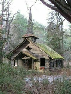 An Old Abandoned Church in the Woods.