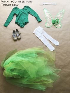 Disney's Tinker Bell No Sew Halloween Costume For Kids Diy Girls Costumes, Clever Halloween Costumes, Halloween Kids, Disney Costumes, Woman Costumes, Couple Costumes, Couple Halloween, Disney Halloween, Adult Costumes