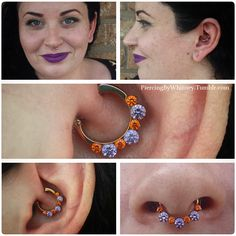 Fresh Daith piercing with Industrial Strength Odyssey clicker featuring orange cz and amethyst cz Swarovski crystals, anodized copper.We ordered a septum clicker to match :}Love this color combo! Note: look at the awesome purple lipstick. Septum Clicker, Daith Piercing, Body Piercings, Peircings, Whitney Thompson, Body Jewellery, Jewelry, Purple Lipstick, Body Mods