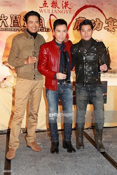 Chow Yun Fat(L),Donnie Yen and Aaron Kwok attends celebration party of film The Monkey King with his wife on Wednesday February 12,2014 in Hong Kong,China.