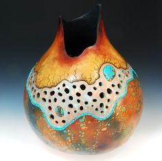 gourd art turquoise Southwest filigree carved gourd vessel gourd vase inlaid stone dyed Claudia Pflueger