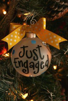 Just Engaged Ornament, christmas ornament, ornament. $14.00, via Etsy.