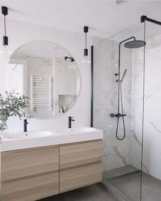 Marble Bathroom With Wood Grain Modern Bathroom B. - Marble Bathroom With Wood Grain Modern Bathroom Bathroom Renovations - Latest Bathroom Designs, Modern Bathroom Design, Bathroom Interior Design, Restroom Design, Bathtub Designs, Bad Inspiration, Bathroom Inspiration, Bathroom Ideas, Bathroom Organization
