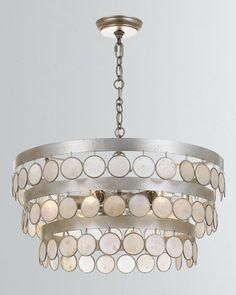 Ceiling Lamp Silver Lily Crystal Col OK Lighting 9-Light 20 in