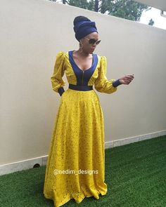 Gorgeous yellow lace full length gown with black accents. African Print Skirt, African Print Dresses, African Dress, Zulu Traditional Attire, Traditional Outfits, African Fashion Ankara, African Inspired Fashion, African Attire, African Wear