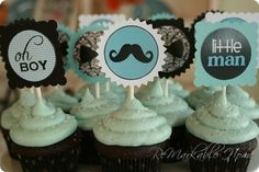 Boy baby shower cupcakes! How cute?