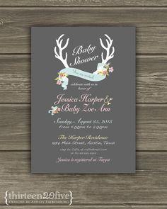 Vintage Deer Antler Floral Custom Baby Shower by Thirteen20Five, $15.00