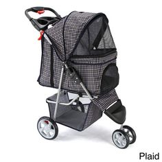 """Plaid 3-wheel Pet Stroller Dog Cats Small Animals Holds Up To 35 Pounds 40"""" High #Oxgord #CasualContemporary"""
