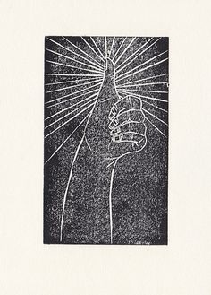 Thumbs up lino cut by kayeblegvad on Etsy, £16.00