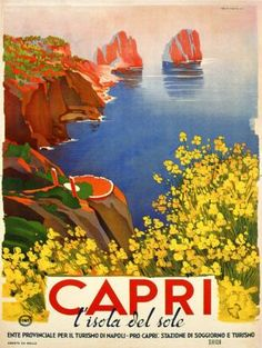 Vintage travel poster overlooking a bay at Capri, Italy.