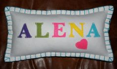 Personalised Handmade Name Cushion  GIRL  Up by TheBespokeEmporium, £17.00  Repin if you love it :)