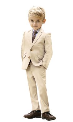 5c6afd061 Black n Bianco boy's signature slim fit suit in khaki tan. One of our most