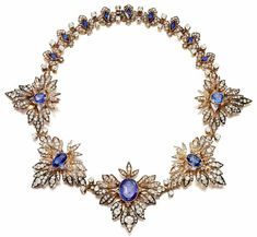 Sapphire and diamond necklace - late 19th century. via IG