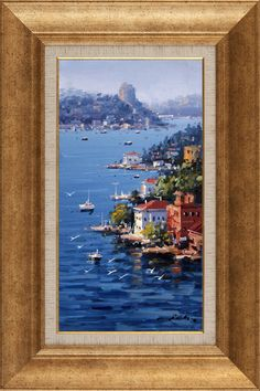 Seaside Mansion and Rumeli Fortress Acrylic Painting Canvas, Canvas Art, Picture Wall, Art Inspo, Landscape Paintings, Seaside, Diy And Crafts, Deco, Frame