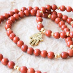 red jasper mala prayer beads