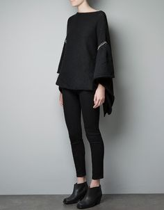 PONCHO SWEATER WITH RHINESTONES - Knitwear - Woman - ZARA United States. $79.90