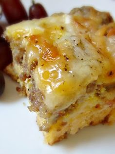 Ingredients:    1 can of buttermilk biscuits (8 count)- (I used open nature biscuits as pictured but have also used Pillsbury Grands Biscuits)  1 pound of any breakfast sausage roll (browned, drained, and cooled)  1 cup shredded mozzarella cheese  1 cup of shredded cheddar cheese  5 eggs, beaten  2