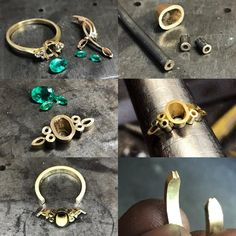 Shirley's ring remake had a bit of everything. Emeralds and gold from her original engagement ring, some new diamonds, marquise emeralds… Jewelry Crafts, Jewelry Art, Jewelry Design, Jewellery, Handmade Rings, Handmade Jewelry, Metal Jewelry, Silver Jewelry, Silver Ring