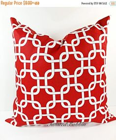 SALE PILLOW. Red Pillow. RED Pillow cover. by TwistedBobbinDesigns