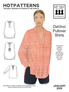 The HP 1263 DaVinci Pullover Shirts sewing pattern from Hot Patterns, an easy to wear pullover style, almost like a woven Henley but withsome cool details. Skinny Leather Pants, Clothing Patterns, Shirt Sewing Patterns, Dress Patterns, Plus Size Sewing Patterns, Pattern Sewing, Coat Patterns, Pattern Drafting, Pants Pattern