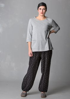 """Comfortable jersey pants in puff style make a great addition to the layered look. Available both solid-colored and printed in the easy-to-match """"Gunnel"""" pattern. In soft eco-cotton, of course."""