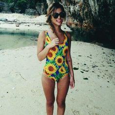 Product Description: (Free Shipping) New 2017 Women SunFlower Printed One Piece Bandage Bathing Swimsuit / Beachwear by PesciModa Item Type: One Pieces, Sport Type: Swim, Gender: Women, Fit: Fits smal