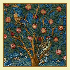 Tree of Life detail by Arts and Crafts Movement Founder William Morris Counted Cross Stitch or Counted Needlepoint Chart
