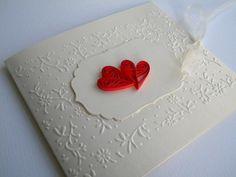 Heart wedding invitation / Red wedding invitation / Quilling wedding