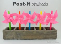 Dress up your pen or pencil at school with the most inexpensive way to make pinwheels. This craft for children is so easy that you can make tons of Post-It Pinwheels in no time. These would be so much fun as pencil toppers. Crafts For Seniors, Crafts For Kids, Arts And Crafts, Paper Crafts, Projects For Kids, Craft Projects, Craft Ideas, Cute Crafts, Easy Crafts