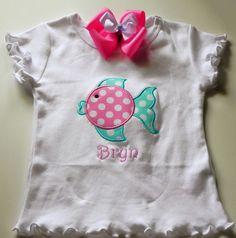 Blow fish applique shirt by polkadotsfortots1 on Etsy, $22.00