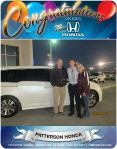 Congratulations to Jody and Cindy Ashlock and their new Honda Odyssey! - From Casey Svatek at Patterson Honda!
