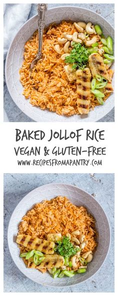 This baked Jollof rice recipe is easy to make with just eight ingredients. It is vegan, gluten-free and perfect for occasions. It is a go to African Recipe | http://recipesfromapantry.com