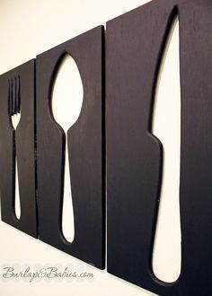 How to Make Giant Utensil Wall Art Looking for some creative wall decor for your dining room or kitchen? Create your own giant utensil wall art. Dining Room Wall Art, Kitchen Wall Art, Diy Kitchen, Kitchen Decor, Dining Rooms, Kitchen Utensils, Decorating Kitchen, Dining Wall Decor Ideas, Kitchen Soffit
