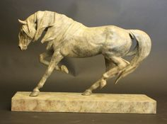 Bronze sculpture by sculptor Gill Parker titled: 'Dynamic (Contemporary Trotting Indoor Horse statue statuette sculpture)'.
