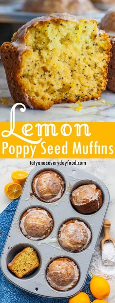 The best lemon poppy seed muffins, with a simple lemon glaze! These muffins are super fluffy, delicate and moist thanks to a buttermilk batter! Best Blueberry Muffins, Lemon Poppyseed Muffins, Lemon Muffins, Poppy Seed Muffins Recipe, Poppy Seed Recipes, Blueberry Loaf, Winter Desserts, Fun Desserts, Lemon Dessert Recipes