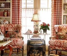 COUNTRY FRENCH king Charles Faudree knows that nothing cozies up a room like a mix of toile and check...