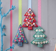 Button Christmas tree decorationBlue Green RedWith uneven edging and visible stitching that looks like it's been done by your own fair hands, and little mismatched buttons that could have been liberated from Granny's button box, they have a lovely hand-made feel, perfect for creating a really homely effect this Christmas. A lovely Christmas tree decoration Available in three different colours.FeltHeight: 8cm Width: 6cm