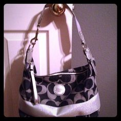 Authentic Coach purse This is an authentic coach purse! It's a cute denim and silver one strap purse! It's only been used a couple times! It's in great condition! Coach Bags