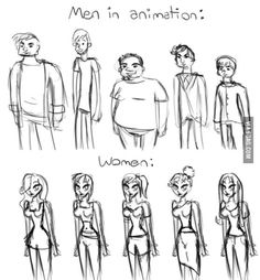 Men and women in animation. Spot the difference? We need feminism. Fight for gender equality. Women Rights, Intersectional Feminism, Patriarchy, Equal Rights, Faith In Humanity, Tumblr Art, Body Image, Animation, Funny