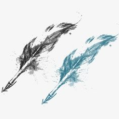 Ink feather, Ink, Feather, Blue PNG and PSD