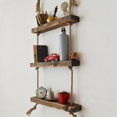 Raft de Perete din Lemn Masiv cu Franghie CPT1094-50 Pallet Wall Shelves, Wood Wall Shelf, Rope Shelves, Wooden Shelves, Floating Shelves, Decorative Shelves, Bookshelves, Bookcase, Handmade Books