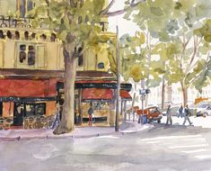 Paris Print of Original Watercolor Painting by EdieFaganArt on Etsy. An early morning cafe just opening for French pastries and hot coffee.