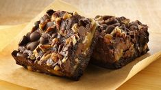 Gluten free brownie mix marries with the classic turtle trio of chocolate, caramel and nuts for a decadent treat.