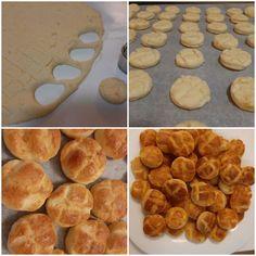 Pihe-puha, de mégis ropogós krumplis pogácsa recept, fázisfotóval. Maradék krumplipüréből is készíthető :) Muffin, Breakfast, Food, Morning Coffee, Muffins, Meal, Essen, Hoods, Cupcakes